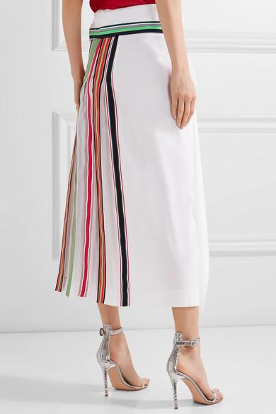 DIANE VON FURSTENBERG Pleated Grosgrain-Trimmed Linen-Blend And Georgette Skirt