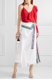 Diane von Furstenberg Pleated grosgrain-trimmed linen-blend and georgette skirt