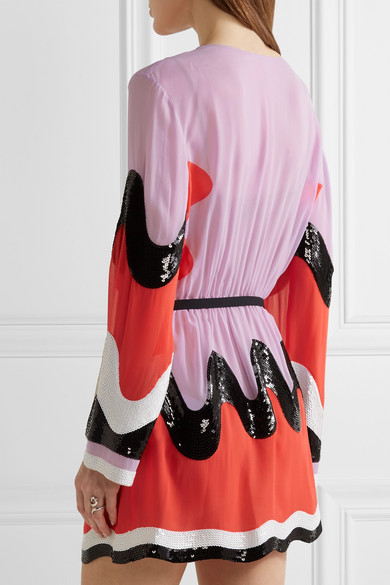 Emilio Pucci Woman Color-block Sequin-paneled Silk-georgette Mini Dress Red Size 40 Emilio Pucci Vknjk0