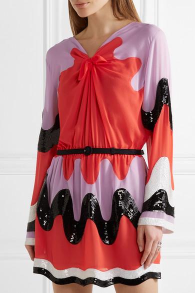 Emilio Pucci Woman Color-block Sequin-paneled Silk-georgette Mini Dress Red Size 40 Emilio Pucci mbjpT21