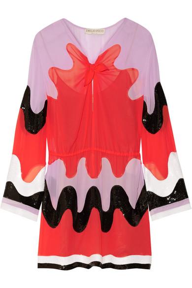 Emilio Pucci Woman Color-block Sequin-paneled Silk-georgette Mini Dress Red Size 40 Emilio Pucci 0F7PITU3i