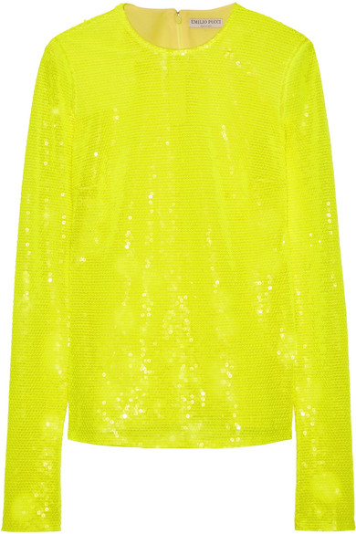 Emilio Pucci Woman Sequinned Top Bright Yellow Size 46 Emilio Pucci Clearance Store djO63Ag9