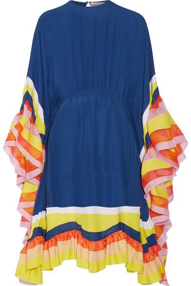 Emilio Pucci - Ruffled Chiffon-trimmed Silk-georgette Midi Dress - Royal blue