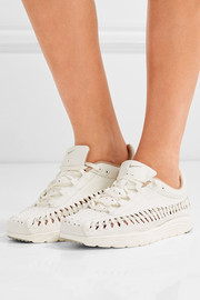 Mayfly woven leather-trimmed faux suede sneakers