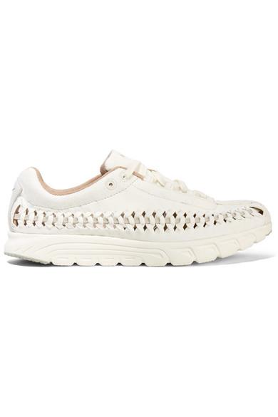 nike libellula pelle intrecciato potato faux camoscio bianco e scarpe da ginnastica, modesens