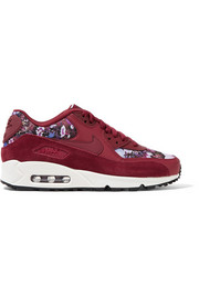 Air Max 90 SE floral-print canvas, leather and suede sneakers