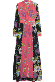 Floral-print silk crepe de chine maxi dress