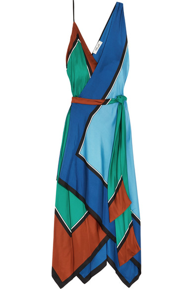 Diane von Furstenberg - Asymmetric Printed Silk Maxi Dress - Blue