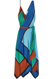 Asymmetric printed silk maxi dress