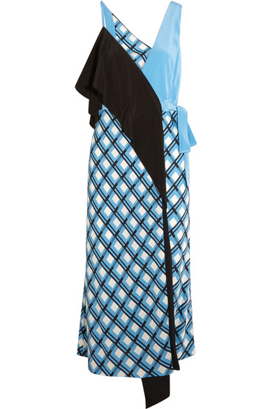 Diane von Furstenberg - Draped Printed Silk-blend Wrap Dress - Blue