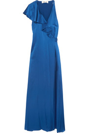 Ruffled satin wrap maxi dress