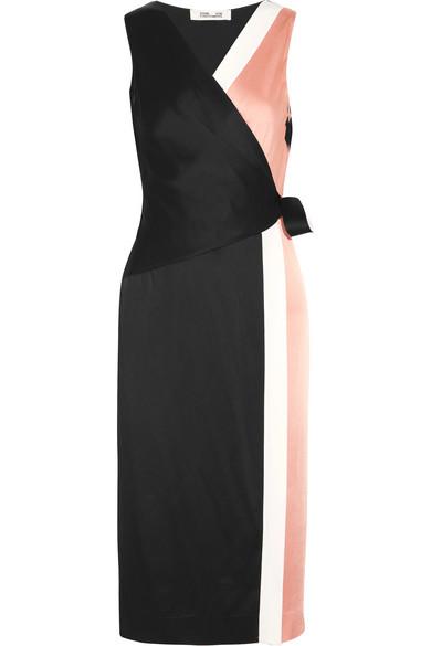 Diane von Furstenberg - Color-block Crepe De Chine Wrap Dress - Pink