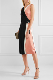 Diane von Furstenberg Color-block crepe de chine wrap dress