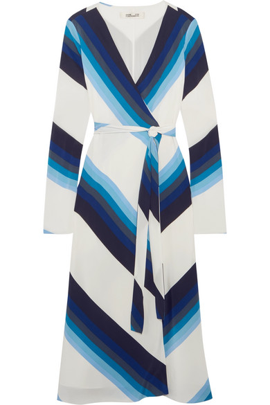 Diane von Furstenberg - Striped Silk Crepe De Chine Wrap Dress - Blue