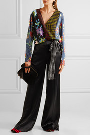 Diane von Furstenberg Printed silk-blend wrap top