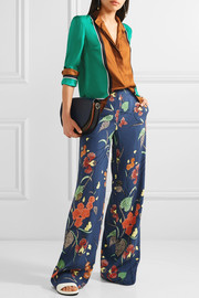 Diane von Furstenberg Pleated printed crepe de chine wide-leg pants