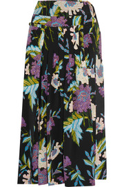 Pleated printed silk crepe de chine wrap skirt