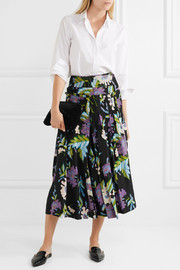 Diane von Furstenberg Pleated printed silk crepe de chine wrap skirt