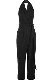 Polka-dot silk-blend wrap jumpsuit