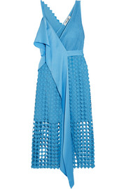 Ruffled crepe de chine and lace wrap dress