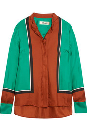 Color-block silk-satin shirt