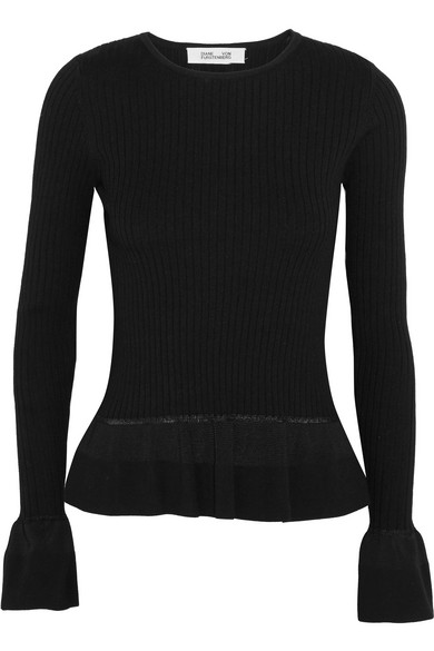 Diane von Furstenberg - Ribbed-knit Peplum Sweater - Black