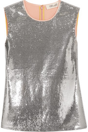 Sequined crepe de chine top