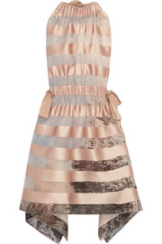 Fendi Tie-back striped satin mini dress