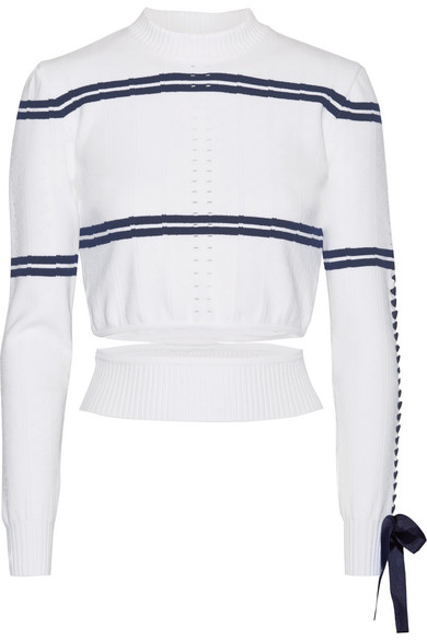 Fendi - Cutout Faille-trimmed Striped Pointelle-knit Sweater - White