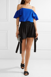 Scalloped draped silk crepe de chine shorts