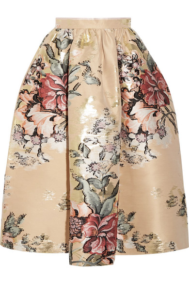 Fendi - Metallic Floral-jacquard Midi Skirt - Cream
