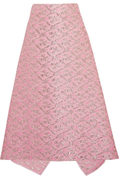 Fendi - Metallic Jacquard Midi Skirt - Pink