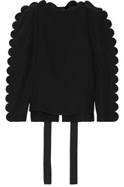 Fendi Scalloped silk crepe de chine blouse