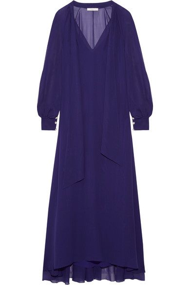 Lanvin - Pussy-bow Silk-chiffon Maxi Dress - Indigo