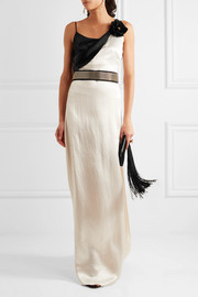 Embellished draped satin gown