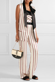 Embellished striped satin-jacquard vest