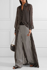 Striped satin-jacquard wide-leg pants