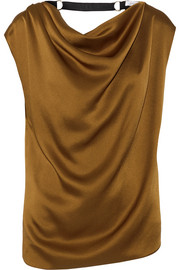 Embellished draped satin top