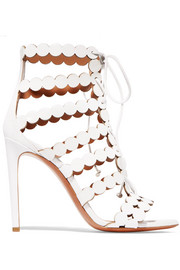 Laser-cut leather and suede sandals