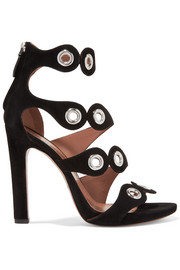 Eyelet-embellished suede sandals