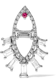 Ileana Makri Teared Eye 18-karat white gold, diamond and ruby earring