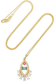Teared Eye 18-karat gold multi-stone necklace