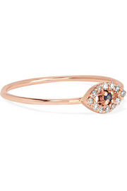 18-karat rose gold, diamond and sapphire ring