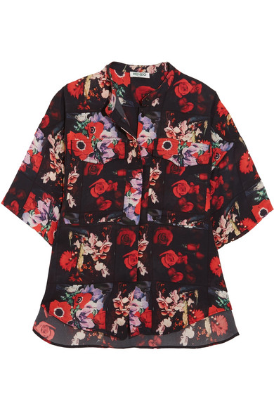 KENZO - Floral-print Silk-georgette Shirt - Red