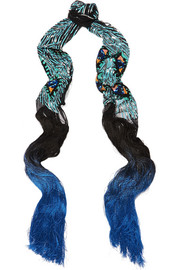 Peacock Eyes fringed sequin-embellished tulle scarf