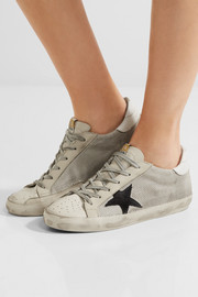 Super Star distressed leather-paneled mesh sneakers