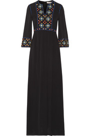 Jordana embellished silk-georgette maxi dress