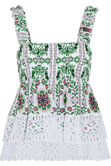 Shirred printed silk-georgette and broderie anglaise cotton top