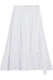 Hermmosa broderie anglaise cotton midi skirt