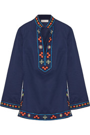 Tory appliquéd embellished cotton tunic